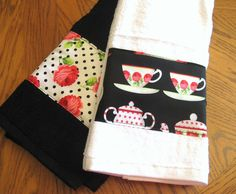 Decorated Towels BLACK AND WHITE CUPS (2) Towels 16x28 Each #DECORATED