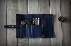 Leather tool roll, Leather pen sleeve roll, Leather watch roll, Leather pen case, Leather toll case bag - Top Veg Tanned leather Made by VaLeather on Etsy https://www.etsy.com/listing/233628780/leather-tool-roll-leather-pen-sleeve