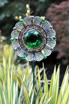 """Repurposed Glass Flower, Sun Catcher Glass Garden Art - """"Aster"""" Violet & Green Glass Flower, Made from Glass Plates"""