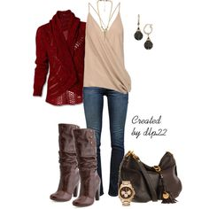 """""""Maroon and Beige"""" by dlp22 on Polyvore"""