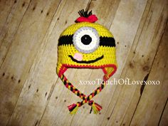 Super Cute Minion Hat Beanie tongue Boy or by xoxoTouchOfLovexoxo, $20.00