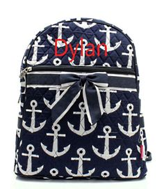Personalized Anchor Print Quilted Backpack or by MauriceMonograms, $33.00
