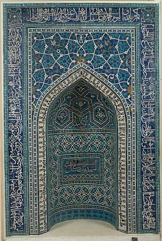 Mihrab (Prayer Niche)  Object Name:MihrabDate:A.H. 755/A.D. 1354–55Geography:From Iran, IsfahanCulture:IslamicMedium:Mosaic of polychrome-glazed cut tiles on stonepaste body; set into mortar
