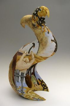 Time to Wander, coil built stoneware, hand painted with underglazes 20x9x11 in