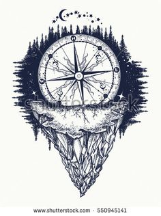 and mountains tattoo and t-shirt design. Mountain antique compass and wi. Compass and mountains tattoo and t-shirt design. Mountain antique compass and wi. - -Compass and mountains tattoo and t-shirt design. Mountain antique compass and wi. Kunst Tattoos, Neue Tattoos, Body Art Tattoos, Sleeve Tattoos, Tattoo Art, Rock Tattoo, Get A Tattoo, Wild Tattoo, Flower Tattoo Back