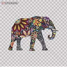 Decals Sticker Elephant Car Window Wall Art Decor Doors Helmet Truck Motorcycle Note Book Mobile Laptop Glass. Sports Bike 5 X 3,48 Inches Color