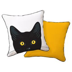 Pay homage to your furry friend with this hand-silkscreened pillow, featuring a cat motif.      Product: PillowConstru...