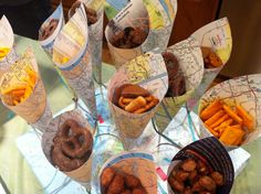 Love the map themed cones for snacks. Love the map themed cones for snacks. Retirement Parties, Grad Parties, Themed Parties, Lila Party, Leaving Party, Bon Voyage Party, Goodbye Party, Travel Baby Showers, Going Away Parties
