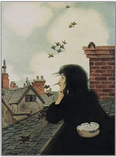 """The sparrows twittered and hopped about quite without fear' ~ """"A Little Princess"""" illustrator Ethel Franklin Betts 