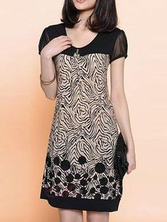 Stylish Short Sleeve Scoop Neck Spliced Printed Loose-Fitting Dress For Women Stylish Dresses, Cheap Dresses, Casual Dresses, Formal Dresses, Mode Batik, Dress Outfits, Fashion Dresses, Beauty And Fashion, Dresses Online