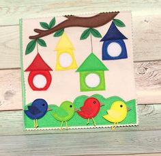 stars press stud quiet book pageBirds in a tree quiet book pageFelt birds color match to birdhouses. Diy Quiet Books, Baby Quiet Book, Felt Quiet Books, Quiet Book Templates, Quiet Book Patterns, Felt Crafts, Diy And Crafts, Crafts For Kids, Silent Book