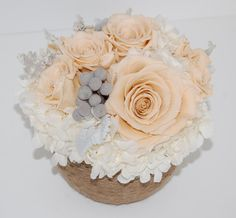 Preserved Roses, Hydrangeas, Silver Brunia and Dusty Miller by MaisonDeLaCroix. Like me on Facebook to receive sales and discounts: http://www.facebook.com/MaisonDeLaCroix