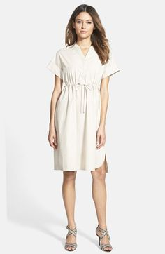Free shipping and returns on Weekend Max Mara 'Svedese' Split Neck Cotton Dress at Nordstrom.com. Perfect for warm days at the office, a shirtdress cut from fine woven cotton is casually styled with a drawstring waist and an uneven hem with scalloped sides.