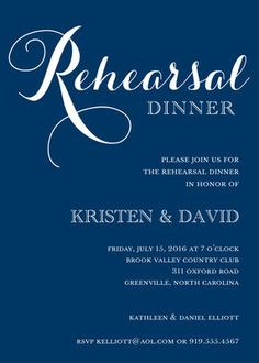 Navy Rehearsal Dinner Invitations