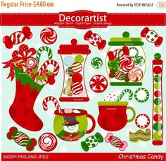 ON SALE Christmas clip art, Christmas candy clip art, Christmas drinks clip art, instant download