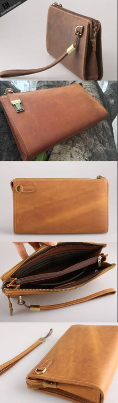 Handmade clutch long wallet leather men phone clutch vintage wallet for