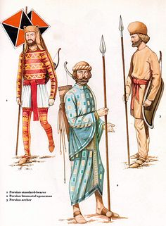 Achaemenian Infantry Forces L – R: Achaemenian Persian Standard Bearer, Persian Immortal Spearman and Median Archer Persian Warrior, Parthian Empire, Sassanid, Achaemenid, Ancient Persian, Super Hero Outfits, Ancient Near East, Persian Culture, Roman History