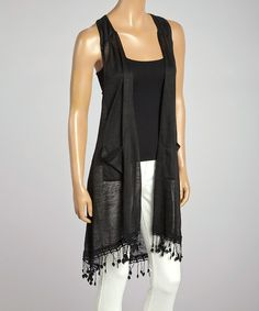 Take a look at the Black Fringe Open Vest on #zulily today!