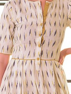 Cream-Navy Box Pleated Handloom Ikat Cotton Dress