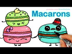 How to Draw Macarons Cute step by step Sweet Cartoon Desserts