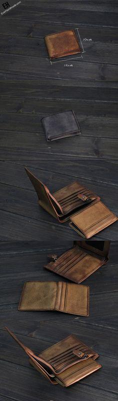 Copy of Handmade Men short leather wallet men vintage brown gray card wallet for him