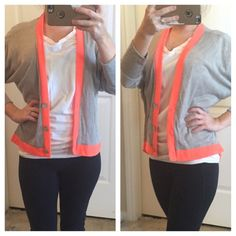 Neon Orange Trim Cardigan Good condition cardigan. Three pearl buttons. From shoulder to bottom is 22 inches. One day shipping. No trades and no holds. 20% off of bundles. About A Girl Sweaters Cardigans
