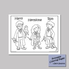 Harry Potter Printable Coloring Page Harry Ron Hermione by Beckadoodles on Etsy https://www.etsy.com/listing/181121409/harry-potter-printable-coloring-page