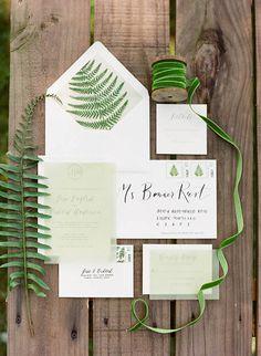 Green Detail Wedding Invitations - Justin DeMutiis | Snippet & Ink