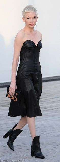 Look luxe in a leather Louis Vuitton dress like Michelle Click 'visit' to buy it now #DailyMail