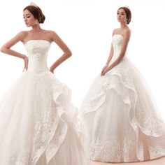 Hot selling custom made modern ball gown white tulle wedding dresses with handmade flower,lace for women,flower girls $239.00