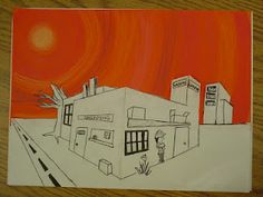 5th grade drawing: 2-point perspective