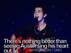 He really does sing from the heart some of his songs I have noticed have alot of auto tune but evryone uses it I wish he had more acoustic songs cuz his vocals really come out when its just acoustic and its not just his vocals u can feel and hear the passion he has for music and his fans I love him so kuch he helps me in so many ways and he will nvr kno but its ok I understand he has alot of fans and he is still here for me thru his music I luv ya austin:)