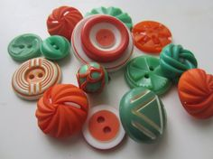 Vintage Buttons  Cottage chic mix of fun orange by pillowtalkswf, $8.95