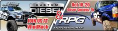 """Come to the WindRock event this weekend to hang out, have some fun, and meet some new motorsports fans with the Custom Diesel crew.    We will be in Oliver Springs, TN, October 18th-20th to showcase our Custom Diesel brand """"merch"""", and you'll have a chance to view our exclusive RPG Motorsports products, too.  We are giving away a set of RZR doors and some high quality Custom Diesel products, so come check us out and have a chance to win some awesome gear for your truck or ATV while you're…"""