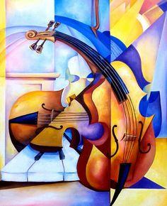 "Título : violines  Autor :Armando Canovas Esperde  Medidas : 24"" x 30 "" Técnica : oleo sobre lienzo"