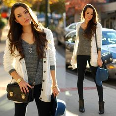cozy Abercrombie & Fitch Eve and Aston sweaters + navy skinnies, Luxe Cartel amethyst necklace and DailyLook bag