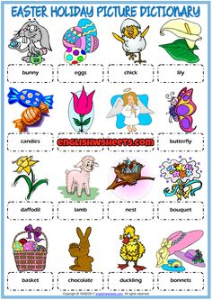 A picture dictionary and classroom poster ESL printable worksheet for kids to study and learn Easter Holiday vocabulary. Useful for teaching and learning Easter Holiday vocabulary. Easter Worksheets, Vocabulary Worksheets, Easter Activities, Class Activities, Worksheets For Kids, English Lesson Plans, English Lessons For Kids, Kids English, English Tips