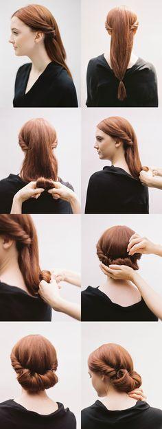DIY Rolled Chignon Hair Tutorial - #diyhairstyle #diyhalfuphalfdown #diyupdo