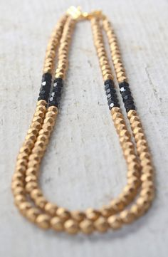 Double Strand Statement Necklace in Gold and Black