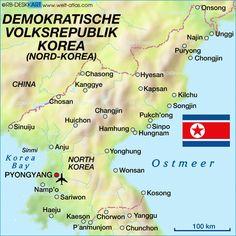 Korea, map, north, eng