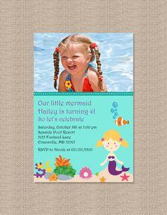 Mermaid Birthday Party Photo Invitation