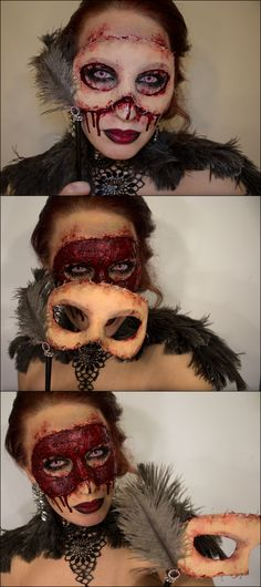 UPDATE to the Halloween Masquerade Flesh Mask FX Makeup from Sandra Holmbom This post here has received 82,000+ notes, and is one of my most popular HalloweenCrafts posts. Sandra Holmbom stopped posting a while back, but her blog lives on. You can...