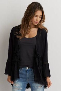 AEO Macrame Kimono  by AEO | Add a romantic layer to your favorite maxi dresses and crop tops.  Shop the AEO Macrame Kimono  and check out more at AE.com.