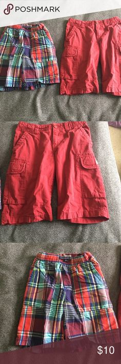 2 Children's Place Shorts. Size 7 Navy Blue, Green and Red Plaid Shorts and Red Cargo Shorts. Size 7. Children's Place Children's Place Bottoms Shorts