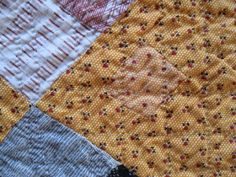 A 19th century New Album quilt, with a great collection of fabrics, including this butterscotch print. There are also a couple of interesting vintage repairs.  http://annquiltsblog.blogspot.com/2017/10/sweet-butterscotch-quilt.html