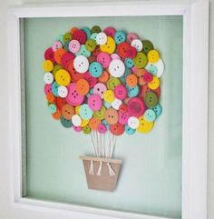 Decorating Baby's Nursery on a Budget- Easy DIY Decor Projects # diy baby decor Designing Baby's Nursery On A Budget Button Art, Button Crafts, Nursery Art, Girl Nursery, Nursery Ideas, Girl Room, Nursery Crafts, Pixar Nursery, Diy Nursery Decor