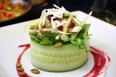 Spring Salad in a Cucumber Bowl w/strawberry vinaigrette dressing. Delicious and healthy.
