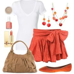 Cute salmon colored skirt outfit - cute if the skirt wasn't so short