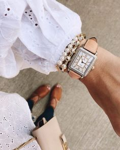 We love this soft and sweet look of the Deco Diamond Dial Watch paired with a tan strap! Perfectly paired with creamy pearls!