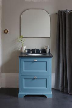 Burlington Furniture in Farrow and Ball Cooks Blue. Bathroom Vanity Units, Bathroom Furniture, Burlington Furniture, Burlington Bathroom, Bathroom Colors, Bathroom Ideas, Blue Bathrooms, Family Bathroom, Bathroom Showrooms